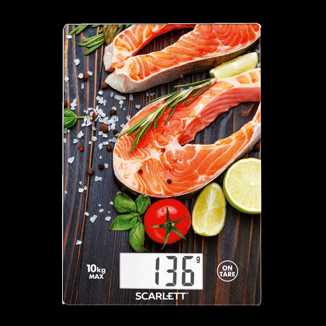 kitchen scale fresh salmon