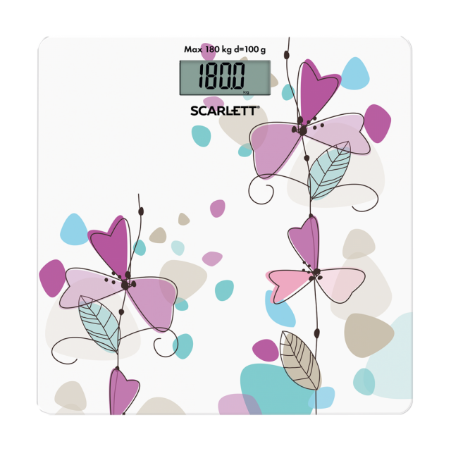 Bathroom scale violet flowers