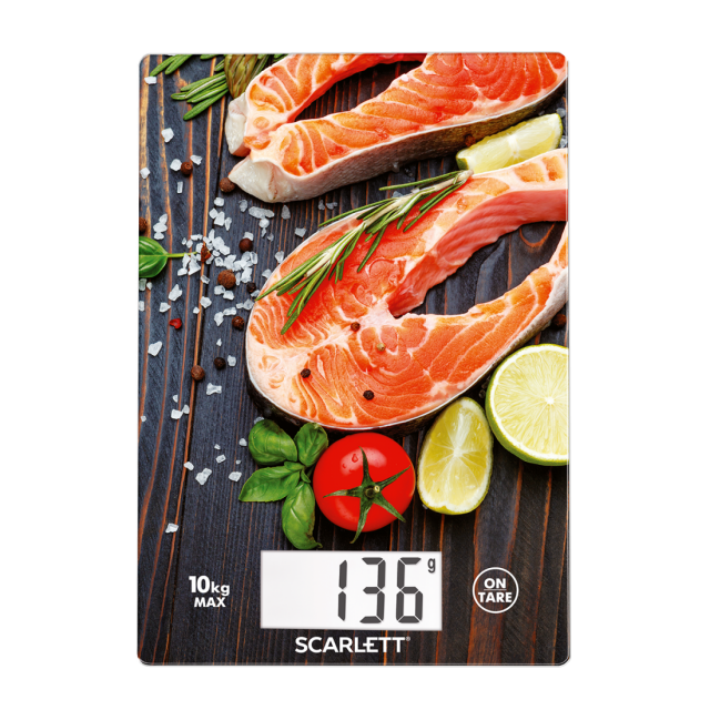 kitchen scale fresh salmon