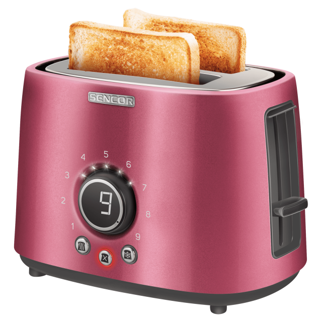 Toaster/ Sencor STS 6054RD Toaster, 2 slots for making two slices (length 135 mm), Premium metallic design, 9 toasting intensity levels, Power input: 1,000W, 2