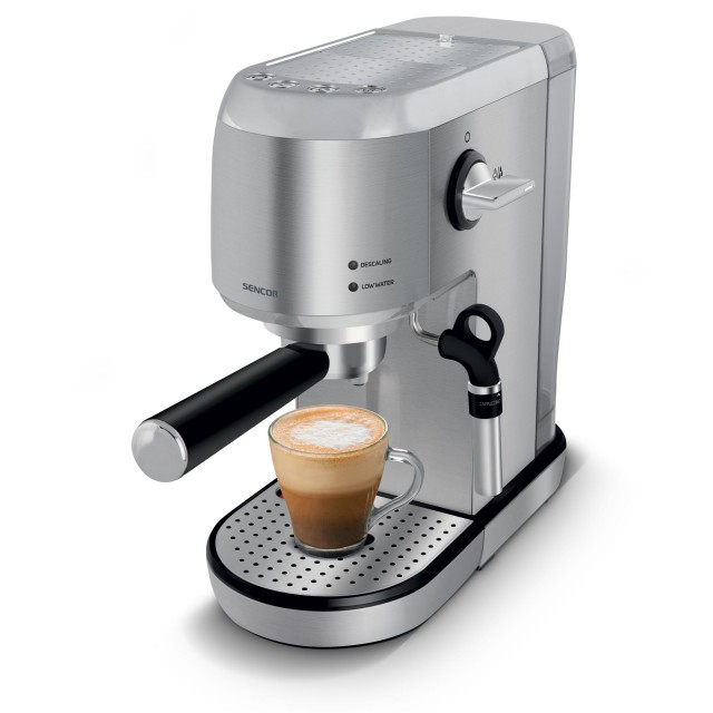 Coffee Maker/ Sencor SES 4900SS Espresso Machine,20Bar,1and2Cup,Cup warmer,Power 1400W, 33,1x16,5x32,5sm, 4.1Kg, Steel