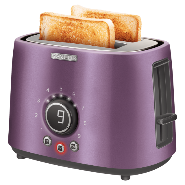 Toaster/ Sencor STS 6053VT Toaster, 2 slots for making two slices (length 135 mm), Premium metallic design, 9 toasting intensity levels, Power input: 1,000W, 2