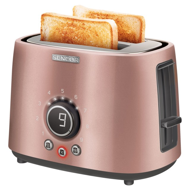 Toaster/ Sencor STS 6055RS Toaster, 2 slots for making two slices (length 135 mm), Premium metallic design, 9 toasting intensity levels, Power input: 1,000W, 2