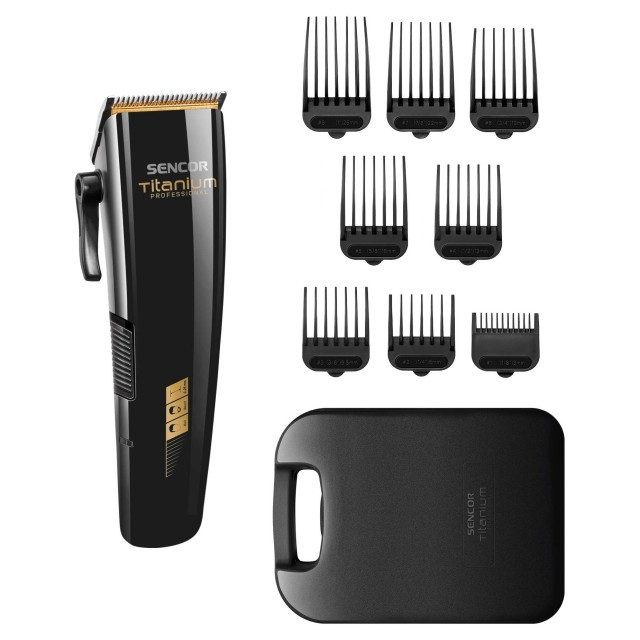 Hair Trimmer/ Sencor SHP 8400BK Hair Clipper, charge -2 h, Blade width 46 mm,Cleaning brush, 8 exchangeable height attachments, 174 × 52 × 32