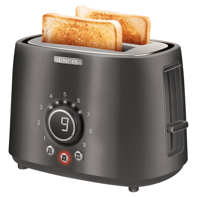 Toaster/ Sencor STS 6058BK Toaster, 2 slots for making two slices (length 135 mm), Premium metallic design, 9 toasting intensity levels, Power input: 1,000W, 2