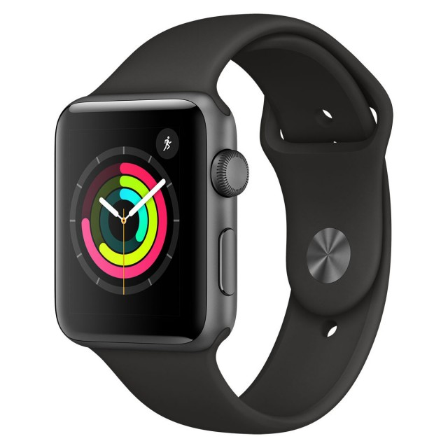 Smart Watch/ Apple Watch Series 3 GPS 42mm Space Grey Aluminium Case with Black Sport Band Model A1859 (MTF32FS/A)