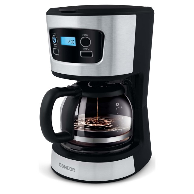 Coffee Maker/ Sencor SCE 3700BK Coffee Maker, Ideal for Brewing 8 Cups of Coffee at Once, 0.75 Litre Water Tank, Glass Kettle, 700watt, 210 Г— 195 Г— 265, 1,3kg