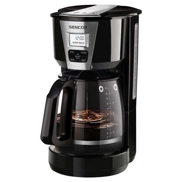 Coffee Maker/ Sencor SCE 5070BK Coffee Maker, Ideal for Brewing 15 Cups of Coffee at Once, 1.8 Litre Water Tank, Glass Kettle (1.8 L) With A Practical Closable Lid,